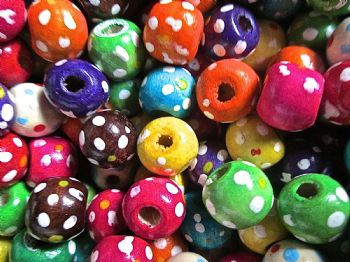 Polka Dot Flower beads Barrel Wood Beads  x 50 10mm